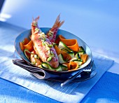Grilled surmullet with vegetable ribbons