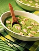 Cream of peas with diced salmon