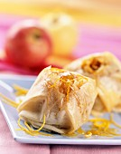Baked apple with orange in filo pastry