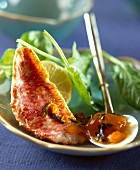 Red mullet with mango chutney