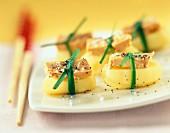Foie gras and potato bundles