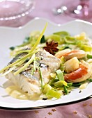 Fillet of pike-perch and scallops