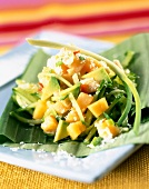 Melon,avocado,cucumber and coconut salad