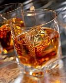 Zwei Gläser Cognac mit Eiswürfel