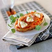 Tomato bruschetta with parma ham and mozzarella
