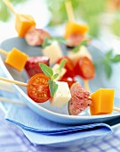 cheese, fig and cherry tomato skewers