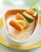 surimi, salmon, avocado and celery skewer