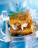 Salmon, lumpfish roe and crème fraîche in flaky pastry