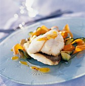 John Dory fillet with vegetable tagliatelles and citrus fruit and saffron coulis
