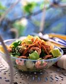 Leek and prawn salad