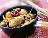 Sautéed burbot with onions and lemongrass