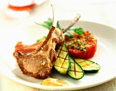 Lamb chops with grilled tomatoes and courgettes
