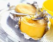 Individual lemon flans in foil
