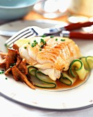 Fillet of cod with girolle mushrooms and courgettes