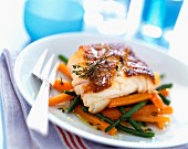 Grilled cod with vegetables