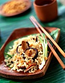 Sauteed rice with chinese mushrooms