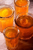 Pots of citrus fruit jelly