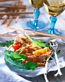 Marinated chicken salad with summer fruit