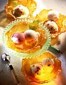 Ice cream in caramel cups