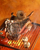 Rib of beef on rack