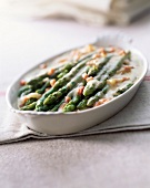Crispy asparagus and smoked bacon gratin