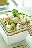 Sea bass ceviche marinated in lime juice