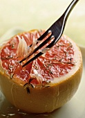 Grilled grapefruit with fork