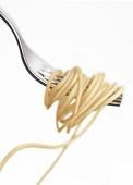 Spaghetti auf einer Gabel vor weißem Hintergrund