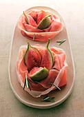 Raw ham with fresh figs