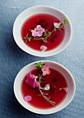 Flower herbal tea in bowls