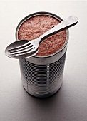 Canned tomato with spoon and fork