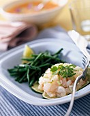 Scorpion fish tartare and French beans with sesame seeds