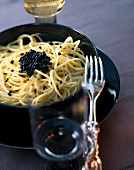 Spaghetti with caviar