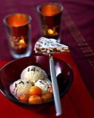 Nougat Christmas tart, kumquats and lavender ice cream