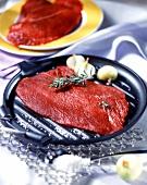 Beef in grilling pan