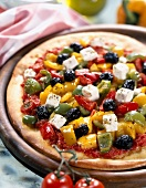 Pepper and feta pizza