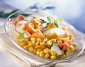 Sweetcorn, raw ham and tomato salad