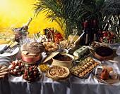 Buffett mit französischen Speisen