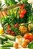 Basket of fresh vegetables and plain yoghurt