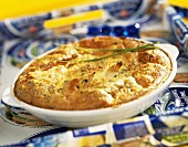 Tuna and chive batter pudding