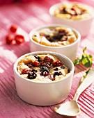 Summer fruit batter puddings