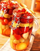 Stewed gooseberries, apricots, grapes and strawberries