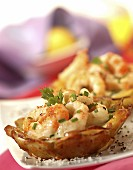 Dublin Bay prawn and potato tartlets