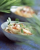 Pasta, brousse and raw ham salad