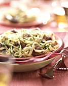 Beef saute with spaghetti