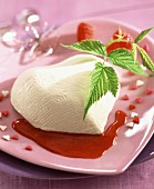 Fromage frais heart with raspberry sauce
