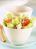 Celery, tomato, cashew nut and fourme d'Ambert salad