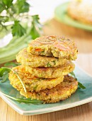 Quinoa fritters with carrots and leek
