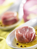 Goat's cheese wrapped in Parma ham (topic: summer snacks)