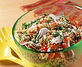 Tabbouleh being mixed